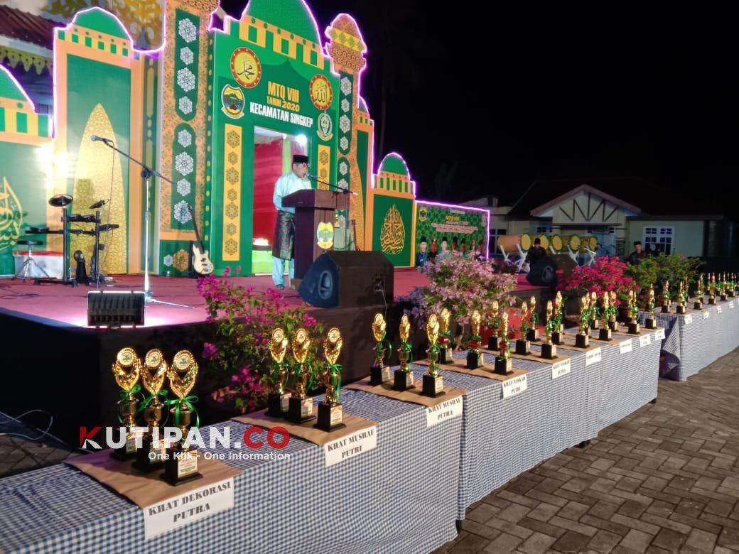 Foto desa tanjung harapan juara umum, kecamatan singkep, Kutipan lingga, mtq resmi ditutup
