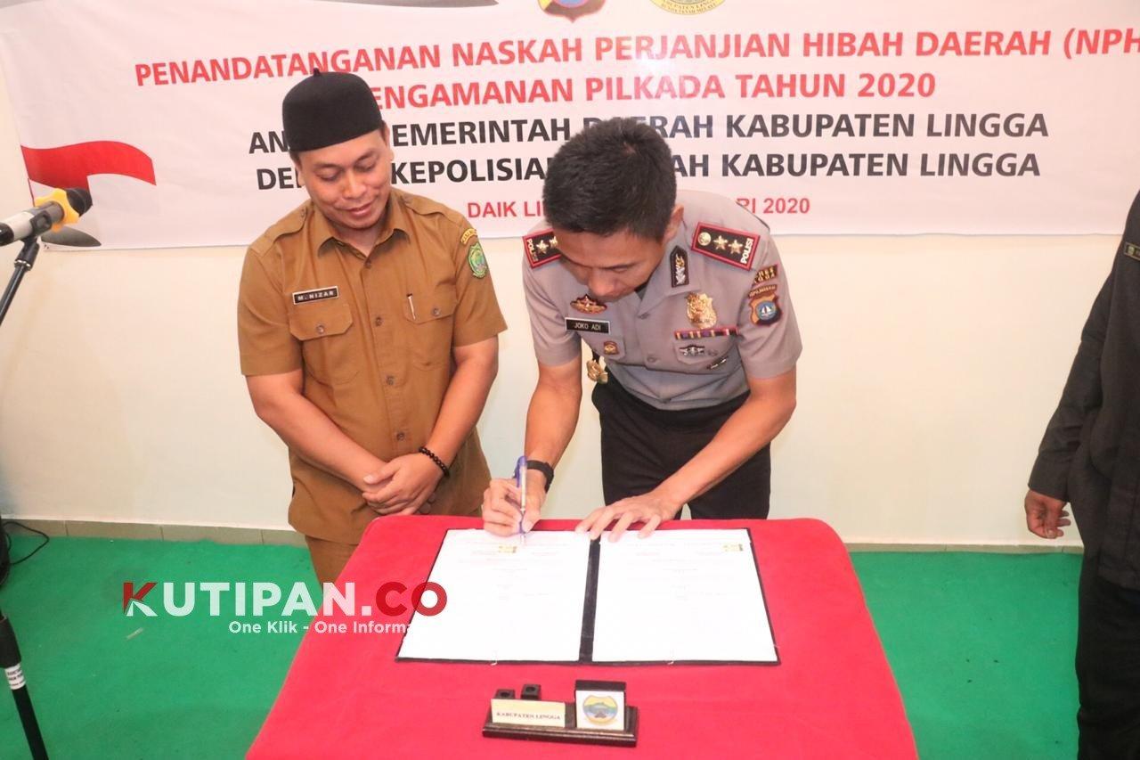 Foto #polreslingga, Berita Lingga, Kutipan lingga, Pemkab Lingga, Polres lingga, tanda tangani NPHD Pilkada 2020