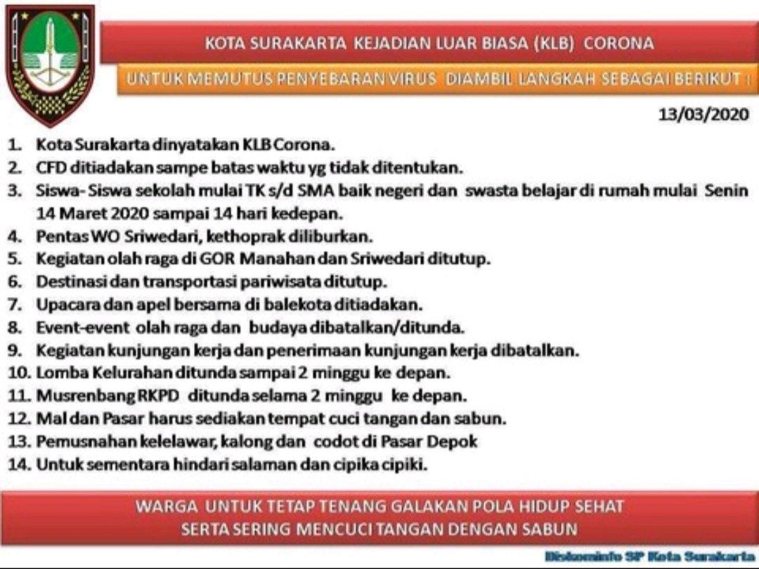 Foto solo KLB corona, Solo sekolah diliburkan, virus corona, walikota solo