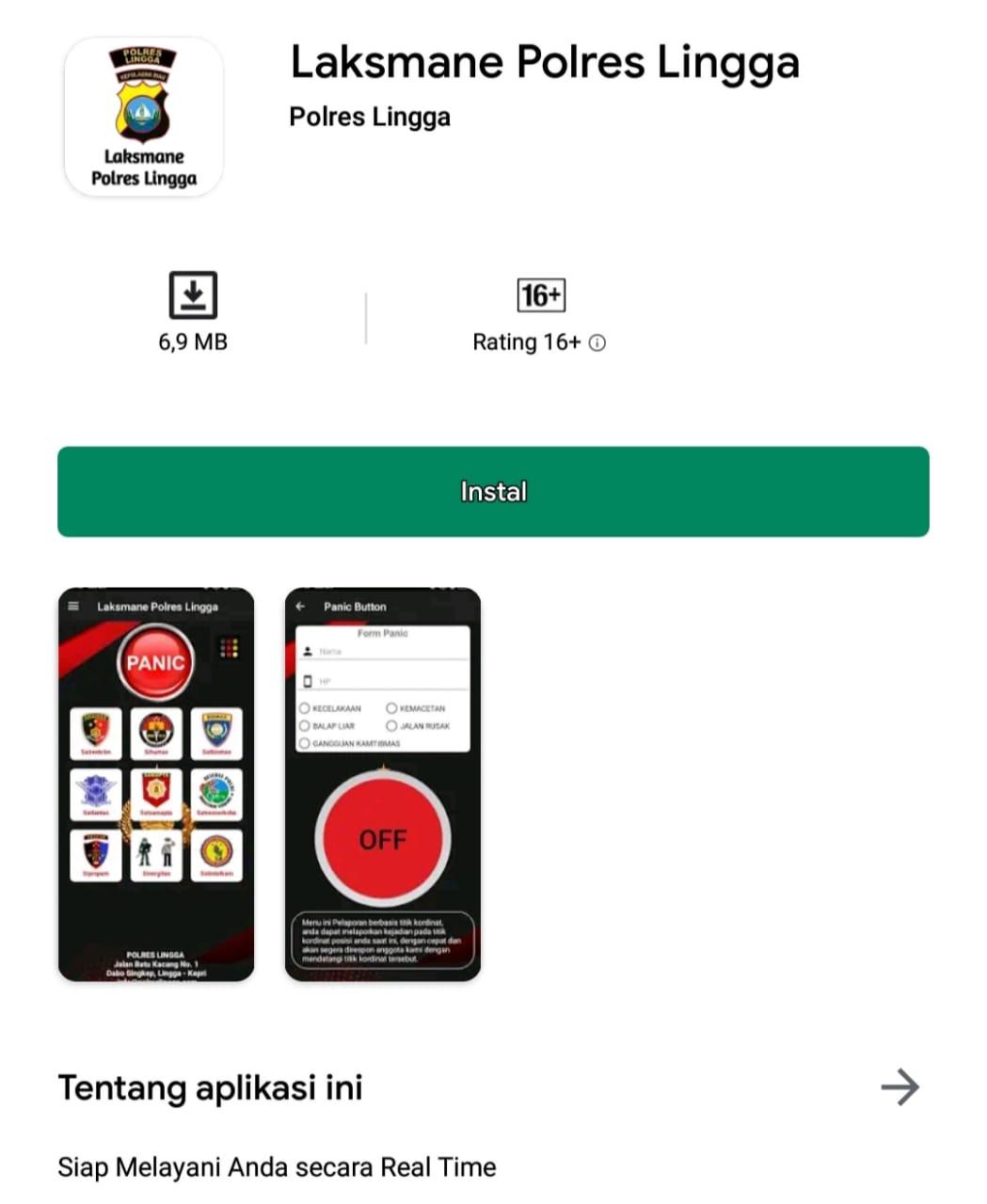Aplikasi Laksmane Polres Lingga | Foto : Screenshoot