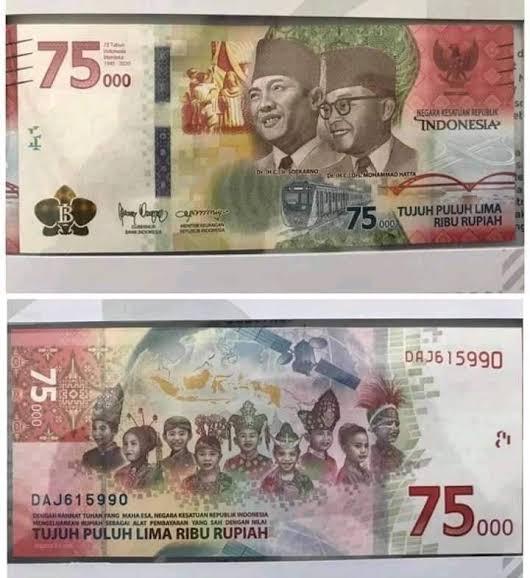 Foto bank indonesia, Rp75.000, Uang baru, uang pecahan 75ribu, uang peringatan kemerdekaan, UPK