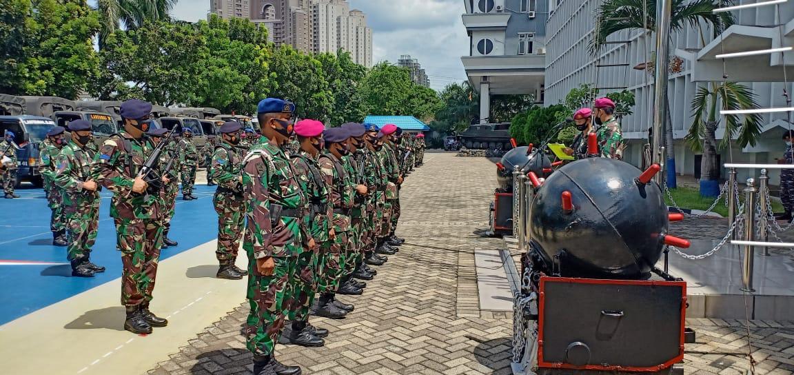 Prajurit Yonmarhanlan III Ikuti Apel Gabungan PAM Unras di Mako Lantamal III