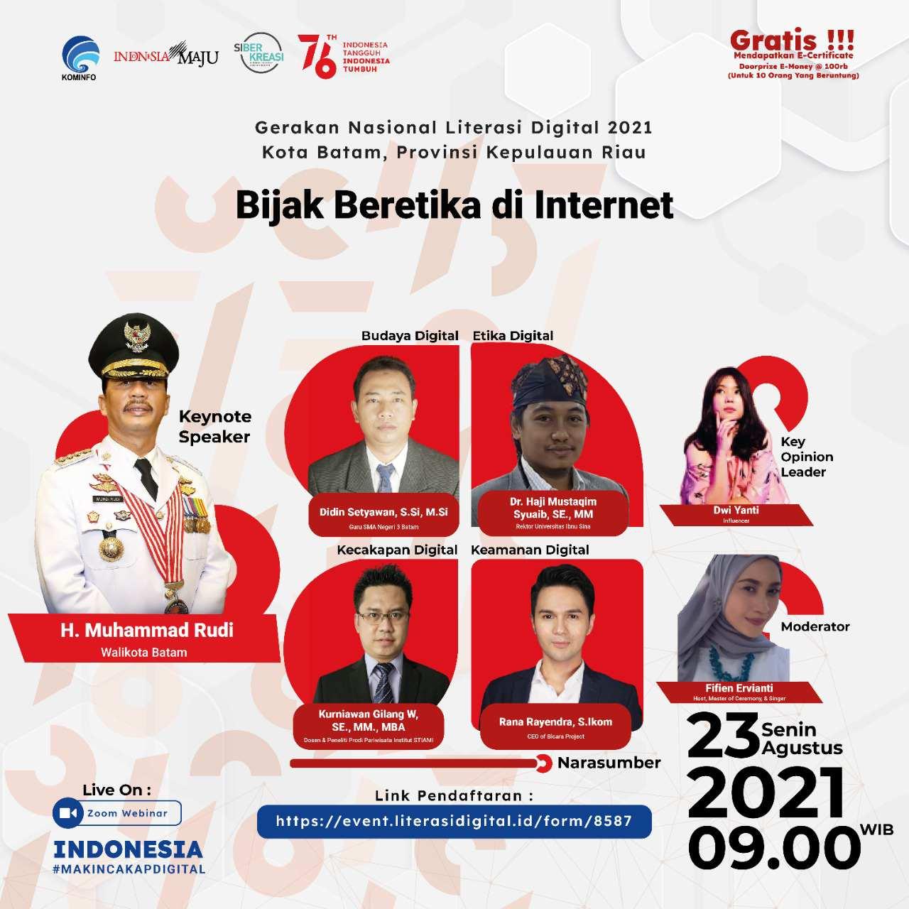 Kemkominfo melalui Direktorat Jenderal Aplikasi Informatika menyelenggarakan kegiatan Webinar Indonesia Makin Cakap Digital di Wilayah Sumatera di 77 Kab/Kota dari Aceh hingga Lampung